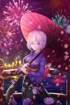 1girl absurdres bridge eyebrows_visible_through_hair fate/grand_order fate_(series) fireworks floral_print flower furisode hair_between_eyes hair_flower hair_ornament hair_over_one_eye highres holding holding_umbrella japanese_clothes kimono mash_kyrielight night oriental_umbrella outdoors pink_hair red_umbrella short_hair solo standing twit_eg0 umbrella violet_eyes water white_flower