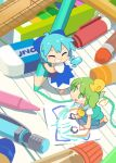 2girls :d ^_^ aqua_dress ascot barefoot blue_bow blue_dress blue_hair blush_stickers bow cirno closed_eyes crayon daiyousei detached_wings dress eraser fairy_wings green_eyes green_hair grin hair_bow highres ice ice_wings lined_paper looking_up minigirl moyazou_(kitaguni_moyashi_seizoujo) multiple_girls open_mouth paper pencil ruler short_hair short_sleeves side_ponytail smile touhou wings wooden_pencil yellow_bow yellow_neckwear