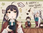 /\/\/\ 3girls :d ahoge alcohol animal_ears arm_up asashimo_(kantai_collection) bangs black_hair blonde_hair blue-framed_eyewear blue_bow blue_neckwear blush bottle bow bowl bowtie brown_mittens chopsticks cup dated drinking_glass eating eyebrows_visible_through_hair food fujinami_(kantai_collection) glasses green_eyes happy_new_year highres holding holding_bottle holding_bowl kantai_collection kotatsu long_hair long_sleeves miroku_san-ju mochi multicolored_hair multiple_girls new_year okinami_(kantai_collection) open_clothes open_mouth oven_mitts purple_skirt purple_vest romaji sharp_teeth shoes side_glance side_ponytail silver_hair skirt smile sparkle speech_bubble steam surprised sweatdrop table teeth two-tone_background two-tone_hair upper_body v-shaped_eyebrows very_long_hair vest wagashi yellow_eyes