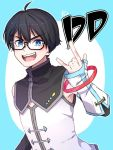 1boy \m/ ahoge black_hair blue_background blue_eyes character_name dd_(xuni_dd) glasses highres male_focus open_mouth simple_background smile solo star virtual_youtuber xuni_dd