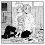 1girl 2boys aqua_eyes black_footwear black_pants brick_wall buttons child collared_shirt cube drawing dress_shirt edward_elric father_and_daughter father_and_son full_body fullmetal_alchemist greyscale hanayama_(inunekokawaii) limited_palette long_hair monochrome multiple_boys on_ground pants parted_lips shirt shoes short_hair siblings sitting smile spot_color window yellow_eyes