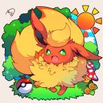:3 :d blue_sky chibi clouds commentary_request fang flareon gen_1_pokemon green_eyes highres looking_at_viewer mushroom muuran no_humans open_mouth poke_ball poke_ball_(generic) pokemon pokemon_(creature) signature sky smile solo sparkle sun