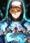 1boy armor blonde_hair fate/prototype fate_(series) gauntlets green_eyes hair_between_eyes highres hooded looking_at_viewer male_focus rahato saber_(fate/prototype) smile solo upper_body