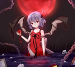 1girl arm_strap black_ribbon black_wings breasts chains cleavage dress eyebrows_visible_through_hair food fruit full_moon hair_between_eyes hanen_(borry) head_tilt highres holding holding_fruit moon night outdoors purple_hair red_dress red_moon red_ribbon remilia_scarlet ribbon short_hair skull sleeveless sleeveless_dress small_breasts solo standing torn_wings touhou wading wings wrist_ribbon