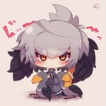 1girl animal bangs bird bird_wings black_hair blush chibi closed_mouth collared_shirt commentary_request eyebrows_visible_through_hair feathered_wings grey_hair grey_legwear grey_shirt grey_shorts hair_between_eyes head_wings kemono_friends long_sleeves looking_at_viewer multicolored_hair muuran necktie no_shoes orange_eyes orange_hair pantyhose shirt shoebill shoebill_(kemono_friends) shorts signature solo standing staring translation_request white_neckwear wings
