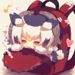 1girl =_= backpack bag bird_tail black_hair blush chibi closed_eyes eighth_note facing_viewer fur-trimmed_sleeves fur_collar fur_trim head_wings heart in_bag in_container kemono_friends multicolored_hair musical_note muuran northern_white-faced_owl_(kemono_friends) orange_hair signature solo translation_request white_hair