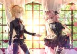 1boy 1girl astolfo_(fate) belt black_bow black_dress black_jacket black_legwear blonde_hair bow braid crossdressing curtains dress fate/apocrypha fate/grand_order fate_(series) french_braid green_eyes hair_ribbon iroha_(shiki) jacket long_braid mordred_(fate) mordred_(fate)_(all) navel neck_bow one_eye_closed open_mouth pants pink_hair red_bow red_neckwear ribbon short_sleeves single_braid thigh-highs trap violet_eyes window
