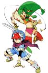 1boy 1girl :d armored_boots belt blue_eyes blue_shorts boots closed_mouth commentary_request feena_(grandia) fighting_stance fingerless_gloves floating_hair gloves grandia grandia_i green_eyes green_hair hair_tubes hankuri hat holding holding_sword holding_weapon jumping justin_(grandia) legs_apart looking_at_viewer microskirt navel open_mouth red_legwear redhead scabbard scarf sheath shoes shorts simple_background skirt smile sword thigh-highs weapon white_background wide_sleeves yellow_gloves