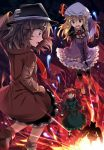 4girls :o animal_ears arm_cannon black_hat black_skirt black_wings blonde_hair braid brown_coat brown_hair cat_ears cat_tail coat commentary_request dress e.o. fedora from_behind green_dress green_sash hand_on_headwear hat highres juliet_sleeves kaenbyou_rin long_hair long_sleeves looking_at_another maribel_hearn mob_cap multiple_girls multiple_tails neck_ribbon open_mouth petticoat profile puffy_sleeves purple_dress red_eyes red_neckwear red_ribbon redhead reiuji_utsuho ribbon short_hair skirt skull tail touhou twin_braids two_tails underground usami_renko violet_eyes weapon white_hat wide_sleeves wings