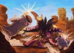 2015 angry blue_sky creature cuteskitty day english_commentary eye_contact fighting jumping kangaskhan looking_at_another looking_away looking_back mega_kangaskhan mega_pokemon mega_sableye no_humans open_mouth outdoors pokemon pokemon_(creature) red_eyes rock sableye sharp_teeth signature sky standing teeth