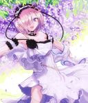 1girl bare_shoulders bracelet cosplay dress euryale euryale_(cosplay) fate/grand_order fate_(series) hair_over_one_eye hairband inaeda_kei jewelry lolita_hairband long_hair mash_kyrielight purple_hair short_hair solo twintails violet_eyes white_dress