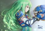 1girl armor belt blue_armor blue_eyes breastplate detached_sleeves fire_emblem fire_emblem:_souen_no_kiseki gloves green_eyes green_hair helmet ippers long_hair nephenee polearm simple_background solo solo_focus spear weapon