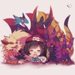1girl :d arcanine bangs beanie bird black_hair black_legwear blush chibi closed_eyes commentary_request eyebrows_visible_through_hair facing_viewer fangs gen_1_pokemon gen_3_pokemon gen_5_pokemon gen_6_pokemon gen_7_pokemon green_shorts hat haxorus mizuki_(pokemon_sm) muuran open_mouth owl pokemon pokemon_(creature) pokemon_(game) pokemon_sm red_hat rowlet salamence scolipede shirt short_shorts shorts signature sleeveless sleeveless_shirt smile socks standing talonflame tied_shirt yellow_shirt z-ring