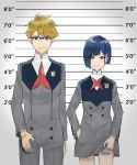 1boy 1girl barcode_tattoo blonde_hair blue-framed_eyewear blue_hair brown_eyes darling_in_the_franxx eyebrows_visible_through_hair glasses gorou_(darling_in_the_franxx) green_eyes hair_ornament hairclip hand_in_pocket height_chart highres ichigo_(darling_in_the_franxx) kaz_(kaazzz0416) lifted_by_self lineup mugshot short_hair smile smirk tattoo uniform