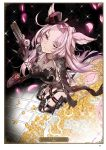 1girl ;) animal_ears artist_name artist_request black_gloves black_leotard boots breasts card_(medium) catharine_(granblue_fantasy) character_name cleavage coin collarbone elbow_gloves floating_hair from_above garter_straps gloves granblue_fantasy gun highres holding holding_gun holding_weapon holster jewelry knee_boots large_breasts leotard long_hair looking_at_viewer necklace necklace_removed one_eye_closed page_number pink_eyes pink_hair sitting smile solo thigh_holster weapon