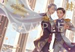 2boys :d black_hair blue_eyes brown_eyes cape cover cover_page cravat doujin_cover dutch_angle epaulettes hair_slicked_back hand_holding highres katsuki_yuuri kuso-taisa male_focus multiple_boys open_mouth petals pillar sample silver_hair smile snowflake_print viktor_nikiforov yuri!!!_on_ice