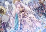 1girl 6+boys anastasia_(fate/grand_order) bangs blue_cape blue_eyes bracelet building cape cello church clouds cloudy_sky coat_of_arms colonnade crystal day doll dress drum dutch_angle earrings faceless faceless_male fate/grand_order fate_(series) flower flower_request gem gloves hairband helmet holding holding_doll instrument jacket jewelry long_dress long_hair looking_at_viewer military military_uniform multiple_boys music open_mouth orchestra outdoors pants plume royal_robe see-through silver_hair sitting sky solo_focus torino_akua trumpet uniform veil very_long_hair white_gloves