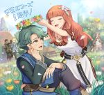 alm_(fire_emblem) armor blonde_hair brown_eyes cape celica_(fire_emblem) clair_(fire_emblem) dark_skin dress earrings effie_(fire_emblem) fingerless_gloves fire_emblem fire_emblem_echoes:_mou_hitori_no_eiyuuou flower gloves gonzarez green_hair grey_(fire_emblem) helmet highres jewelry long_hair multiple_boys open_mouth polearm red_eyes redhead robin_(fire_emblem_gaiden) shoulder_armor smile tiara tobin_(fire_emblem) translation_request weapon