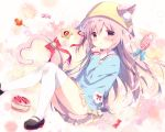 1girl animal_ears artist_name azur_lane bell between_legs black_footwear blue_bow blue_shirt blush bow candy candy_wrapper cat_ears cat_girl cat_tail commentary_request cookie ears_through_headwear food hair_ribbon hat heart heart_tail jingle_bell kindergarten_uniform kisaragi_(azur_lane) lollipop long_hair long_sleeves looking_at_viewer mary_janes one_side_up parted_lips pink_hair pleated_skirt red_bow red_ribbon ribbon school_hat shiratama_(shiratamaco) shirt shoes skirt solo star swirl_lollipop tail tail_bell tail_between_legs tail_bow thigh-highs very_long_hair violet_eyes white_legwear yellow_hat yellow_skirt