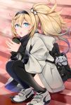 1girl backpack bag blonde_hair blue_eyes cafe coat coffee_cup commentary_request cup disposable_cup escort_water_hime eyebrows_visible_through_hair gambier_bay_(kantai_collection) hair_between_eyes hair_ornament hairband hands_together highres kantai_collection looking_at_viewer open_mouth ponytail scarf shoes sitting sneakers stairs thigh-highs winter yunamaro zettai_ryouiki