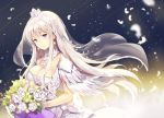1girl azur_lane bouquet breasts bride cleavage closed_mouth commentary_request crown detached_collar dress enterprise_(azur_lane) feathers floating_hair flower jewelry large_breasts long_hair looking_at_viewer necklace pink_hair rose sibyl smile solo standing veil violet_eyes wedding_dress white_dress white_flower white_rose
