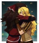 2girls artist_request black_hair blonde_hair fingerless_gloves gloves hair_ribbon hug mother_and_daughter multiple_girls petals raven_branwen ribbon rwby tears yang_xiao_long