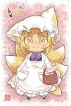 1girl apron basket blonde_hair bottle chibi fish food fox_tail frilled_apron frills full_body hat long_sleeves looking_at_viewer multiple_tails pillow_hat pink_background pmx puffy_long_sleeves puffy_sleeves sandals short_hair smile socks solo tail tofu touhou white_apron white_hat white_legwear yakumo_ran yellow_eyes