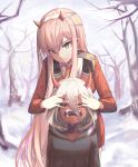 2girls blurry blurry_background covering_another's_eyes crying darling_in_the_franxx dual_persona expressionless green_eyes highres hood horns horns_through_headwear long_hair long_sleeves looking_at_viewer military military_uniform multiple_girls pink_hair red_skin sharp_teeth slit_pupils snow spoilers sugar_(dndi888) tagme tears teeth uniform white_hair winter younger zero_two_(darling_in_the_franxx)