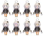 1girl :d :o =_= ahoge bangs black_footwear black_jacket blue_eyes blush braid chibi closed_eyes closed_mouth collared_dress commentary_request crying crying_with_eyes_open dress expressions eyebrows_visible_through_hair fingerless_gloves frown fur_trim glasses gloves grey_dress grey_gloves hair_ornament highres jacket kizuna_akari long_hair looking_at_viewer multiple_views nagisa_kurousagi nervous_smile open_clothes open_jacket open_mouth orange_legwear pantyhose parted_lips ribbed_legwear shaded_face shoes simple_background smile standing striped striped_legwear sweatdrop tearing_up tears turn_pale twin_braids vertical-striped_legwear vertical_stripes very_long_hair voiceroid wavy_mouth white_background yellow-framed_eyewear