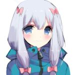 1girl bangs blue_eyes blush bow closed_mouth commentary eromanga_sensei eyebrows_visible_through_hair hair_between_eyes hair_bow highres izumi_sagiri jacket looking_at_viewer misteor multicolored multicolored_clothes multicolored_jacket original purple_hair red_bow smile solo tiny_pupils twintails white_background zipper
