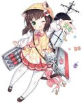 1girl ;d animal_ears azur_lane bangs bell black_footwear blunt_bangs blush bow bowtie brown_hair bucket_hat candy cat_ears cat_tail cherry_blossoms eyebrows eyebrows_visible_through_hair fang flower food full_body green_eyes hat jingle_bell legs_apart lollipop long_sleeves mary_janes miniskirt mutsuki_(azur_lane) no_nose official_art one_eye_closed open_mouth outstretched_arm pantyhose paw_print pink_bow pink_neckwear pleated_skirt red_skirt remodel_(azur_lane) shoes short_hair simple_background skirt smile solo star tachi-e tail tail_bow tongue torpedo torpedo_tubes transparent_background tsukimi_(xiaohuasan) turret white_legwear yellow_hat