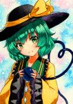 1girl bangs black_hat blush bow eyebrows_visible_through_hair green_eyes green_hair hat hat_bow heart heart_of_string holding komeiji_koishi looking_at_viewer open_mouth qqqrinkappp sample sleeves_past_wrists solo third_eye touhou traditional_media upper_body wide_sleeves yellow_bow