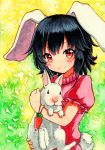 1girl animal animal_ears bangs black_hair blush_stickers bunny_tail carrot_necklace closed_mouth holding holding_animal inaba_tewi looking_at_viewer puffy_short_sleeves puffy_sleeves qqqrinkappp rabbit rabbit_ears red_eyes sample short_hair short_sleeves smile tail touhou traditional_media