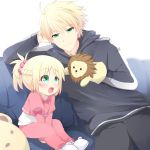 1boy 1girl :d agung_syaeful_anwar blonde_hair blush bow braid child closed_mouth commentary eyebrows_visible_through_hair fang fate/apocrypha fate/prototype fate_(series) french_braid green_eyes hair_bobbles hair_ornament happy highres hood hood_down hoodie long_sleeves looking_at_another mordred_(fate) mordred_(fate)_(all) open_mouth pants pink_bow pink_pants ponytail saber_(fate/prototype) sitting slippers smile sock_puppet