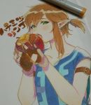 1boy apple armband blonde_hair blush collarbone earrings eating eyelashes fingerless_gloves food fruit gloves green_eyes hair_tie holding holding_food honey jewelry link looking_at_viewer male_focus marker marker_(medium) open_mouth photo pointy_ears roda_(roda826) shirt short_ponytail short_sleeves solo teeth the_legend_of_zelda the_legend_of_zelda:_breath_of_the_wild traditional_media tunic upper_body