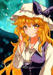 1girl bangs blonde_hair blue_moon blush bow breasts buttons closed_mouth collared_shirt eyebrows_visible_through_hair full_moon hand_up hat hat_bow looking_at_viewer medium_breasts moon purple_bow qqqrinkappp sample shirt sidelocks smile solo touhou traditional_media upper_body watatsuki_no_toyohime white_hat white_shirt yellow_eyes