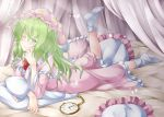 1girl aka_tawashi bed blush bow commentary_request crescent_print curtains dress eyebrows_visible_through_hair frills green_eyes green_hair hat kazami_yuuka kazami_yuuka_(pc-98) long_hair long_sleeves looking_at_viewer lying neck_bow nightcap nightgown no_shoes on_stomach one_eye_closed one_leg_raised pillow pink_dress pocket_watch red_bow red_neckwear smile socks solo star star_print touhou touhou_(pc-98) watch white_legwear
