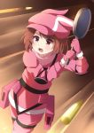 1girl agung_syaeful_anwar animal_ears animal_hat bangs blush brown_hair bullet bunny_hat cabbie_hat commentary commentary_request eyebrows_visible_through_hair frying_pan gloves hat highres holding jacket llenn_(sao) open_mouth pants pink_gloves pink_hat pink_jacket pink_pants rabbit_ears red_eyes solo sword_art_online sword_art_online_alternative:_gun_gale_online v-shaped_eyebrows
