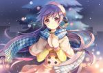 1girl blue_scarf blush capelet checkered checkered_scarf eyebrows_visible_through_hair hair_ornament hairclip holding long_hair long_sleeves looking_at_viewer mittens original outdoors pink_eyes purple_hair red_eyes scarf sibyl smile solo