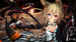 1girl animal_ears armor artist_name assault_rifle bangs black_gloves blonde_hair blood blood_splatter blue_eyes blue_flower blue_rose blurry breasts character_name cleavage closed_mouth collarbone dirt dirty_face dress expressionless eyebrows_visible_through_hair floating_hair flower g41_(girls_frontline) girls_frontline gloves gun h&k_g41 hair_between_eyes hair_ornament heckler_&_koch heterochromia highres holding holding_gun holding_weapon kayjae light_particles long_hair looking_at_viewer magazine_(weapon) open_clothes open_dress red_eyes reloading rifle rose sidelocks small_breasts solo sparks symbol-shaped_pupils twintails underwear very_long_hair weapon white_dress