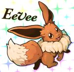:3 :d absurdres brown_eyes character_name eevee full_body fur gen_1_pokemon highres looking_at_viewer no_humans open_mouth paws pokemon pokemon_(creature) reiesu_(reis) smile solo sparkle tail text