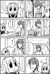 1boy 1girl 3ldkm 4koma :d android arms_on_table bangs bkub blunt_bangs blush box comic corded_phone cup eyebrows_visible_through_hair fumimi greyscale hair_between_eyes holding holding_box holding_phone light_switch maid maid_headdress messy_hair monochrome multiple_4koma open_door open_mouth phone shirt short_hair simple_background smile speech_bubble speed_lines steam sweatdrop table talking translation_request tsuneda two-tone_background two_side_up