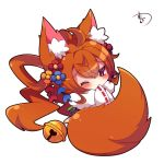 1girl ahoge animal_ears bangs bell blue_flower blush brown_eyes brown_hair chibi commentary_request covered_mouth eyebrows_visible_through_hair flower fox_ears fox_girl fox_tail fur_collar hair_between_eyes hair_flower hair_ornament japanese_clothes jingle_bell kimono korin_(shironeko_project) long_hair long_sleeves looking_at_viewer muuran one_eye_closed orange_flower red_flower ribbon-trimmed_sleeves ribbon_trim shironeko_project signature simple_background solo tail very_long_hair white_background white_kimono wide_sleeves