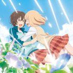 2girls asagao_to_kase-san blonde_hair blue_sky brown_hair flower gym_uniform highres kase_tomoka multiple_girls official_art school_uniform sky yamada_yui yuri