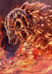 dragon fire from_side highres horns kulve_taroth monster_hunter monster_hunter:_world no_humans scales sharp_teeth shika_(shika0) smoke snout solo teeth