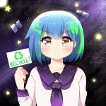1girl absurdres agung_syaeful_anwar blue_hair blush closed_mouth commentary earth-chan eyebrows_visible_through_hair green_hair highres holding holding_sign original purple_sailor_collar recycling_symbol sailor_collar satellite school_uniform serafuku shirt short_hair sign solo space star star_print upper_body v-shaped_eyebrows white_shirt