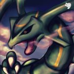 black_sclera blue_sky claws clouds day fangs gen_3_pokemon highres looking_at_viewer muuran no_humans open_mouth orange_eyes outdoors pokemon pokemon_(creature) profile rayquaza signature sky smoke solo
