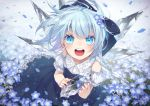 1girl bangs blue_background blue_bow blue_dress blue_eyes blue_flower blue_hair bow cirno colored_eyelashes commentary_request detached_sleeves dress embellished_costume eyebrows_visible_through_hair eyelashes field floating_hair flower flower_field from_above hair_bow highres holding ice ice_wings looking_at_viewer open_mouth signature smile solo sparkle striped teeth tongue touhou toutenkou wind wings