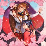2girls armband armpits bangs bare_shoulders blue_eyes blue_hair blush breasts brown_eyes brown_hair cherry_blossoms cloak closed_mouth collar commentary_request day detached_sleeves eyebrows_visible_through_hair flower hair_between_eyes hair_flower hair_ornament headgear hip_vent houshou_(kantai_collection) japanese_clothes kantai_collection kimono long_hair long_sleeves looking_at_viewer miniskirt multiple_girls parted_lips petals pink_kimono pleated_skirt ponytail red_skirt shaded_face skirt sky smile tasuki tree weidashming wide_sleeves yamato_(kantai_collection) z-flag