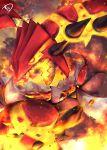 gen_3_pokemon glowing glowing_eyes groudon highres looking_away molten_rock muuran no_humans open_mouth pokemon pokemon_(creature) profile rock sharp_teeth signature smoke solo spikes teeth yellow_eyes